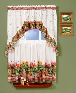 Country Garden Complete Tier Swag Set Kitchen Curtain Delicious