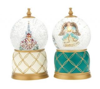 Set of 2 Musical Holiday Snow Globes with Lights by Valerie —