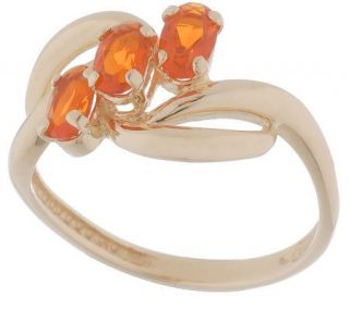 35 ct tw Oval Fire Opal Three Stone Ring, 14K Gold —