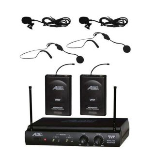 Channel Headset Lavalier Wireless Microphone System Cordless