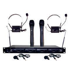 Pyle PDWM4300 4 Mic VHF Wireless Microphone System 068888879262