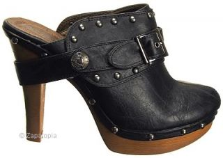 Black Tan Sexy Metal Studs Platform Heel Clog Shoes CO2