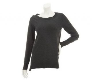 LOGO by Lori Goldstein Sweater with Contrast Side Panels   A229360