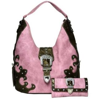 Western Cowgirl Rhinestone Buckle Front Hobo Bag with Matching Wallet