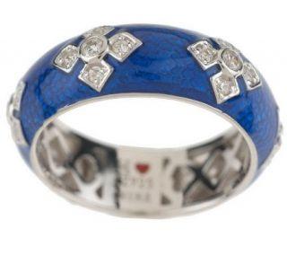 Hidalgo Diamonique TranslucentEnam Maltese Cross Sterling Ring