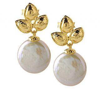 Adi Paz Leaf Design & Coin Pearl Drop Earrings 14K Gold —