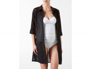 Calvin Klein Womens Swim Oversized Burnout Shirt Cover Up