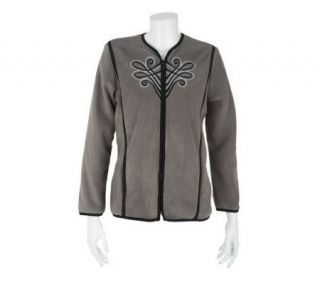 Bob Mackies Plush Fleece Imperial Embroidered Jacket   A68158