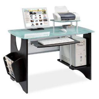 Espresso Glass Computer Furniture Desk Home Office Work Workstation