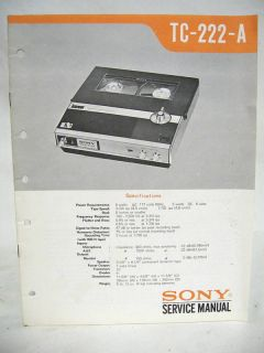Sony Service Manual TC 222 A Reel to Reel Tape Recorder