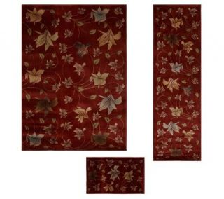 HomeReflections All Over Lily Set of 3 Power Loomed Rugs —