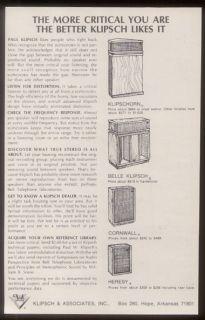 1971 Klipsch Klipschorn Belle Cornwall Heresy 4 Speakers Models Print