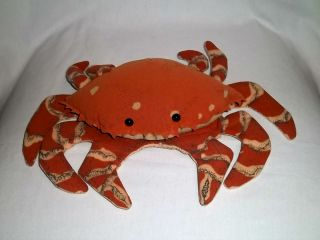 11 Plush Crab Full Bodied Hand Puppet Stuffed Animal Toy
