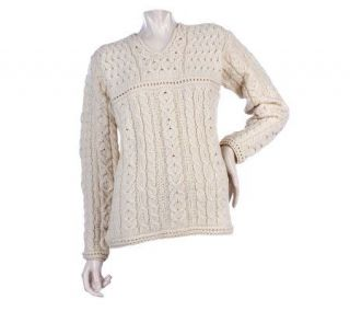 Merino Wool Aran Stitch Split Neck Sweater —