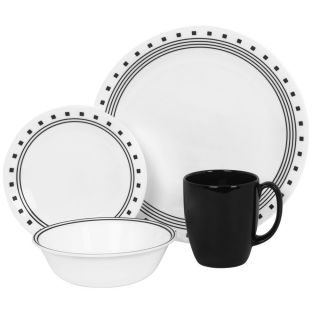 Corelle 16 pc Dinnerware Set City Block w Soup Cereal Bowls Dishes