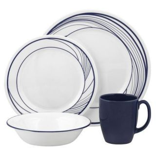 16 PC Corelle Vive Flo Dinnerware Set Navy Blue Waves