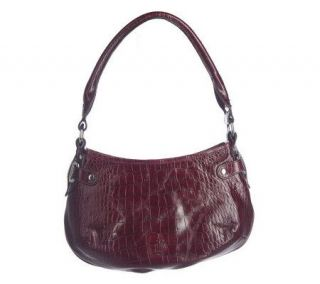 Mark Cross Croco Embossed Leather Madison Hobo Bag —