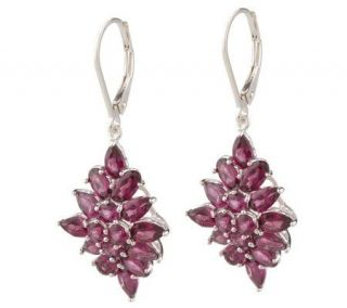00 ct tw Rhodolite Garnet Cluster Sterling Earrings —
