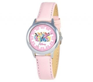 Disney Princess Pink Leather Time Teacher Watch   J308264
