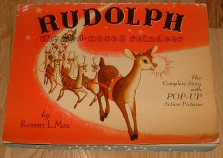 Vintage Pop Up Art Book Rudolph Red Nosed Reindeer Christmas Eames Era