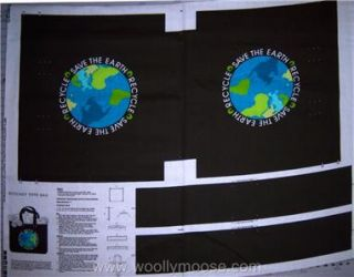 Cranston Save The Earth Ecology Tote Bag Fabric Panel