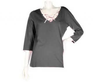Denim & Co. 3/4 Sleeve V neck Stretch Duet Top with Woven Inset