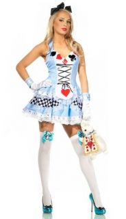 Womens Sexy Deluxe Alice Fancy Dress Adult Halloween Costume Set M