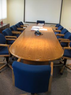 Large HON 16 Feet Conference Room Table 12 Swivel Adjustable Chairs