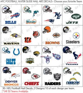 30 Football Nail Decals All NFL Teams Avail AFC Conference Here Nail