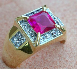 Simulated Montana RED RUBY w cz mens ring 18K yellow gold overlay size