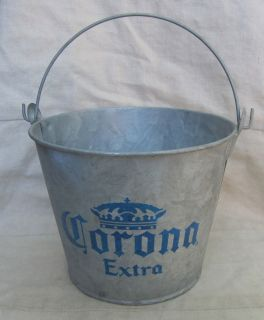 Corona Cerveza Beer Bucket Galvanized Metal Ice Bottle Holder