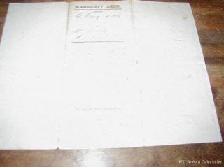 War Era Warranty Deed Bronson Huron County Ohio 1863 Christian Conger