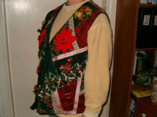 Ugly Christmas Sweater Party Vest 3D Poinsettia Boobs