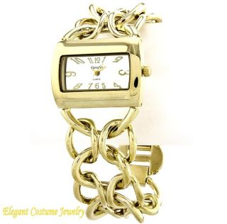 Gold Tone Link 8 8.25 Ladies Bracelet Watch Elegant Costume Jewelry