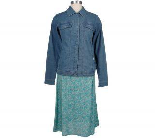 Denim & Co. Lightweight Jean Jacket and Floral Printed Skirt