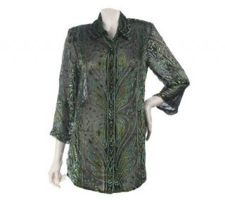 Bob Mackies Silk Blend Burnout Velvet Butterfly Motif Shirt   A74483