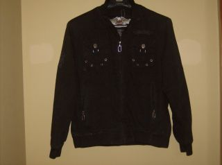 Harley Davidson Womens Cotten Jacket Sz 1W Blk