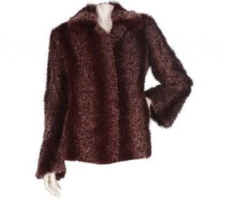 Dennis Basso Curly Faux Fur Coat with Bell Sleeves —