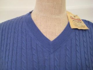 CREMIEUX MEN Medium $95 NWT Sweater Vest Silk Cashmere Cotton Blue NEW