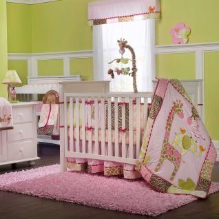 Animal Print Baby Girl Nursery 5p Crib Bedding Set w Giraffe & Zebra