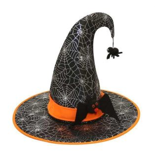 Adult Blk Point Wicked Witch Spider Web Bat Costume Hat