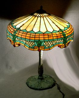 Handel Era Stained Glass Lamp Beautiful Arts & Crafts Nouveau