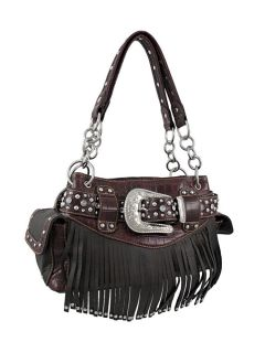 Western Brown Fringe Handbag with Mock Croc Trim Kippy Belt Accent