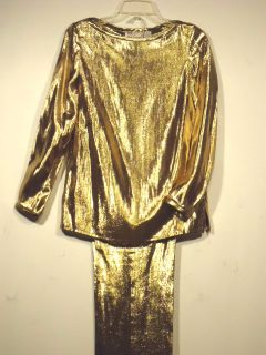 UMI Collections Anne Crimmins NEW S Solid Gold Metallic Pantsuit Set