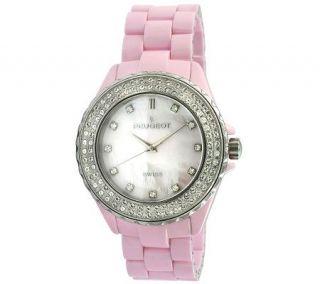 Peugeot Swiss Swarovski Crystal Pink Dial Watch —