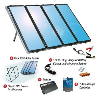 New 60 Watt Solar Panel Charging Kit with Charge Controller Inverter
