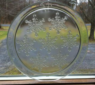 Winter Christmas Snowflake Ice Crystals Glass Round 12 Serving Platter