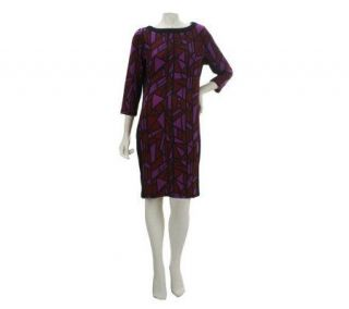 Bob Mackies Boat Neck 3/4 Sleeve Stained Glass Knit Dress   A228182