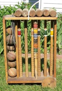Vintage South Bend Croquet Set w Wood Wheeled Cart