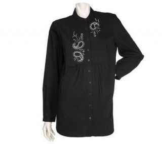 Susan Graver Stretch Cotton Shirt w/Paisley Rhinestone Placket Motif